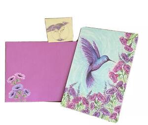 Papyrus Hummingbird Purple Rain Glitter 1 Blank Note Card Gold Seal Envelope