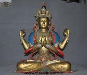 A Tibet Temple Pure Purple bronze 24K Gold 4 Arms Chenrezig Tara Kwan-yin Statue