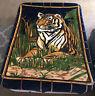 "Vintage San Marcos Tiger Blanket Reversible Mexico 58""x 80"" VIBRANT COLORS"
