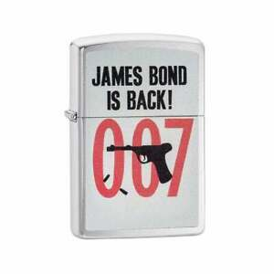 Zippo Lighter James Bond Is Back 007 Logo Brushed Chrome