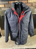 Vintage Woolrich Gray Hooded Puffer Jacket Mens Size Medium Lined Full Zip Vtg