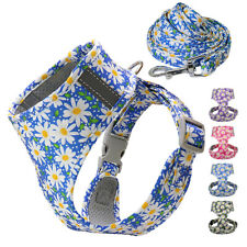 Floral Dog Harness and Leash Reflective Small Medium Pet Cat Vest for Walking