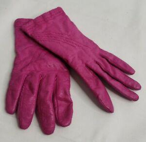 Vtg Pink Kidskin Soft Leather Driving Gloves Acrylic Knit Lining Stitched EUC