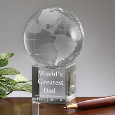 Longwin Personalized Crystal Globe Award Trophy With Display Stand Unique Gift