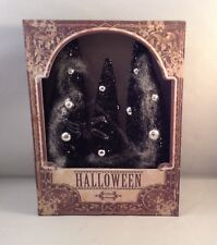 """Halloween Lighted Black Bottle Brush Trees in A Shadow Box with Spider, 8"""" X 6"""""""