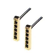 By Boe Studded Bar Earrings (Black) Swarovski Crystal Gold Plated Jewelry