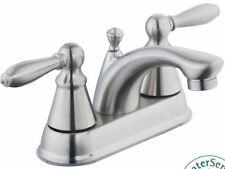 4 in. Centerset Double Lever Handle Bathroom Lavatory Faucet Sink Brushed Nickel