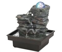 """Rock Formation Tabletop Water Fountain with Lighted Glass Orb """"Soothing"""""""