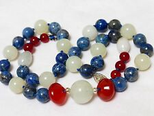Vintage Chinese Natural Jade Carnelian Lapis Beads Necklace, Sterling Clasp