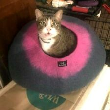 Gray Pink Walking Palm Cat Cave Pet Bed Large For Cats and Dogs