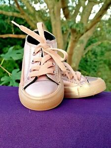 CONVERSE ALL STAR Pink Metallic Shiny Leather Sneakers Girls Shoes Sz 4 👣b14