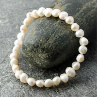 7-8mm White Baroque Pearl Bracelet Elastic Cultured Chic Classic Gift