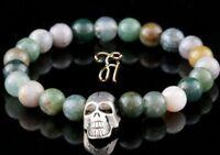 Indien Achat  8mm Armband Bracelet Perlenarmband silberfarbener Totenkopf Skull