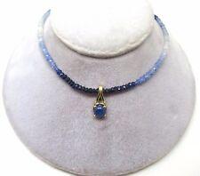 Genuine Natural Blue Sapphire Bead Necklace w/ 2.59ct Cabochon Sapphire (#J3752)