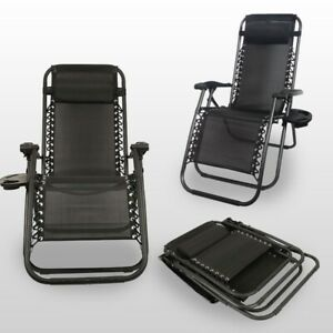 2PC Zero Gravity Outdoor Chair Garden Sun Lounger with Portable Cup Holder