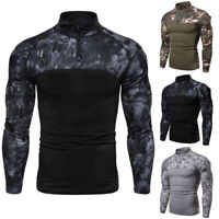 Men's Compression T-shirt Tops Camouflage Long Sleeve Sports Body Fit Blouse Tee