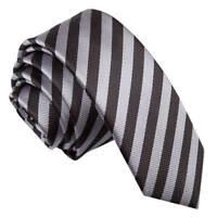 Black Grey Mens Skinny Tie Woven Thin Stripe Formal Casual Necktie by DQT