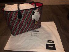NWT $780 Moschino Logo Print Jacquard Tote Handbag