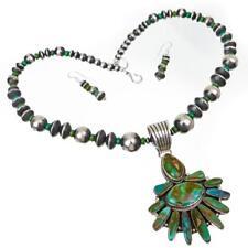 "Turquoise La Ganadonegro Navajo Pearls Squash Blossom Necklace ""Dancing Angel"""