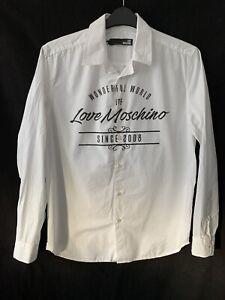 Love Moschino White Cotton Print Shirt Long Sleeve Men M