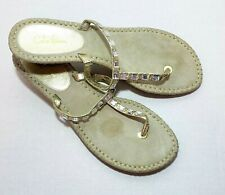 Cole Haan Gold Leather Thong Espadrille Sandals Jeweled Crystals Flip Flop 8.5B