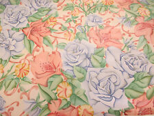 """4 metres Pink & Blue Roses """"Helens Vine"""" Printed 100% Cotton Curtain Fabric"""