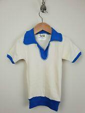 1970s Sin Uso Beige Infantil De Algodón Manga S-Abierto Collar Polo Shirt * 3-4 años * MC90