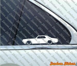 2x Lowered car outline stickers - for 1970 Mercury Cougar hardtop