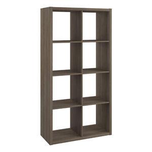 ClosetMaid Decorative Bookcase Open Back 8-Cube Storage Organizer, Graphite Gray