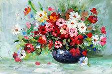 Vase of Colorful Flowers - Hand Painted Floral Flower Oil Painting On Canvas