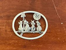 Sterling Silver Brooch/Pin Cats At Lamp Post By Truant Item #4321-25