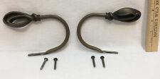 """Curtain Tie Back Hooks Metal Pair Set Brushed Brass Swirl Loop Tiebacks 6"""""""