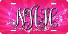Monogram Initials Grunge Airbrush License Plate Pink design Car Auto Tag