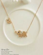 NEW Elephant Family Stroll Design Fashion Womens Charming Crystal Chain Necklace