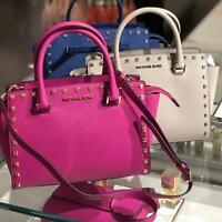 Michael Kors Medium Leather Crossbody Satchel Purse Handbag Bag Blue Grey Pink