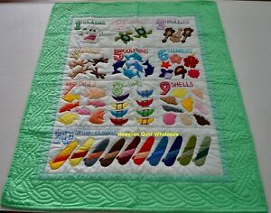 Hawaiian style NUMBER quilt baby crib blanket hand quilted wall hanging GREEN