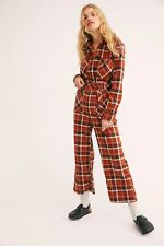 NEW FREE PEOPLE Sz 10 ALL ABOUT YOU PLAID ONE PIECE BELTED  JUMPSUIT JUMPER