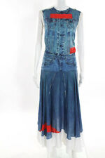 Preen Line Blue Red White Jeans Print Sleeveless Full Length Dress Size Extra Sm