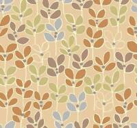 Wallpaper Danish Modern Light Blue Green Pumpkin Orange Leaves Leaf on Beige