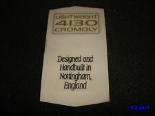 AUTHENTIC NOS RALEIGH 4130 CROMOLY HANDBUILT BIKE FRAME STICKERS #10 DECALS