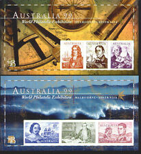 Australia Philatelic '99 1727d 1728d Imperf Navigators Souvenir Sheet Mint Nh