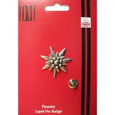 Edelweiss English Pewter LAPEL PIN Badge Flower Plant Leaf Present GIFT BOX