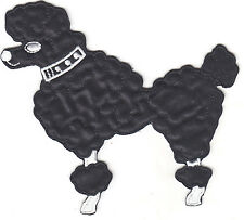 DOGS - POODLE, BLACK, FACING LEFT (LG) -  Iron On Embroidered Applique Patch