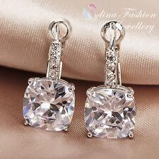 18K White Gold Plated Simulated Diamond 5.0 ct Cushion Cut Clear Hoop Earrings