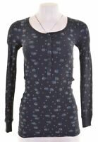 JACK WILLS Womens Top Long Sleeve UK 6 XS Navy Blue Cotton  MT26