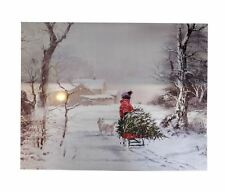 CHRISTMAS TREE SLEDGE CHILD DOG SNOWY FIBRE OPTIC LED CANVAS PICTURE 50CM X 40CM
