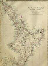 1865 ANTIQUE MAP NEW ZEALAND NORTH ISLAND EAHEIN O MAUWE NAPIER WELLINGTON