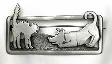 J.J. Jonette Pin Brooch Cat with Dog Pewter Silver Color 2.75 by 1 Inches