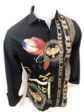 Men PREMIERE Long Sleeve Button Up Dress Shirt BLACK COLORFUL GOLD LION CUP 527