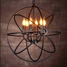 (TW) Vintage Globe Chandelier Pendant Light Ceiling Lamp Metal Cage 6 bulb